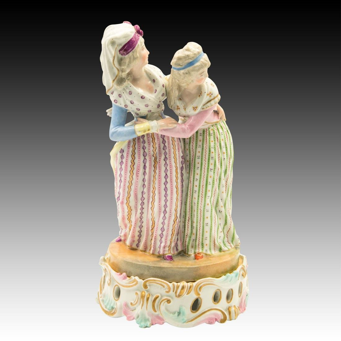 Meissen Two Ladies with Colorful Attire Figurine