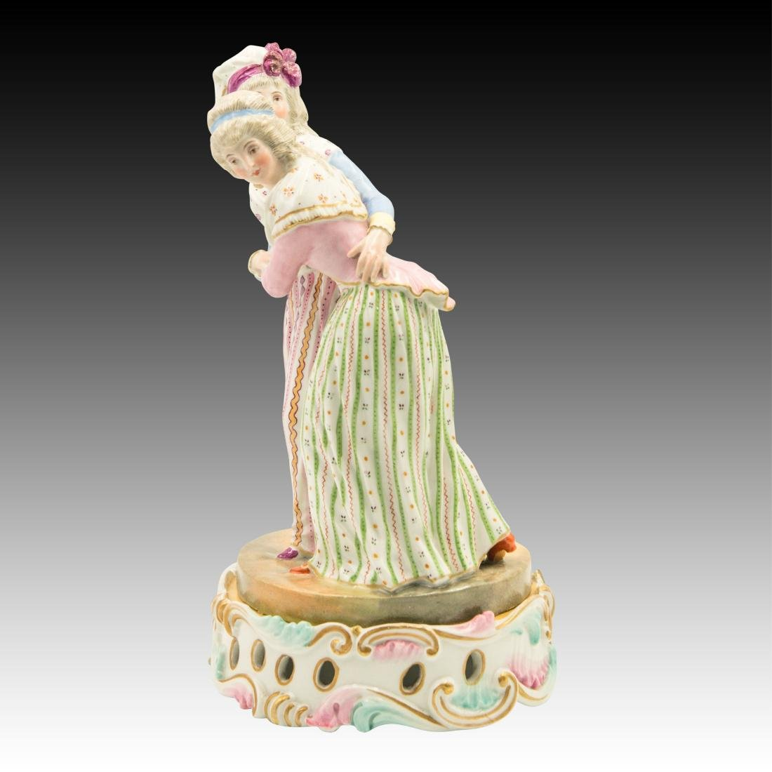 Meissen Two Ladies with Colorful Attire Figurine - 2