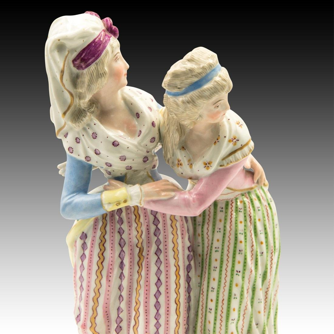 Meissen Two Ladies with Colorful Attire Figurine - 5