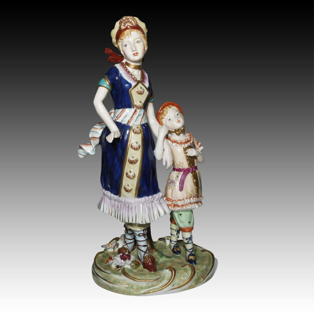 Dresden Figurine of a Woman and a Child