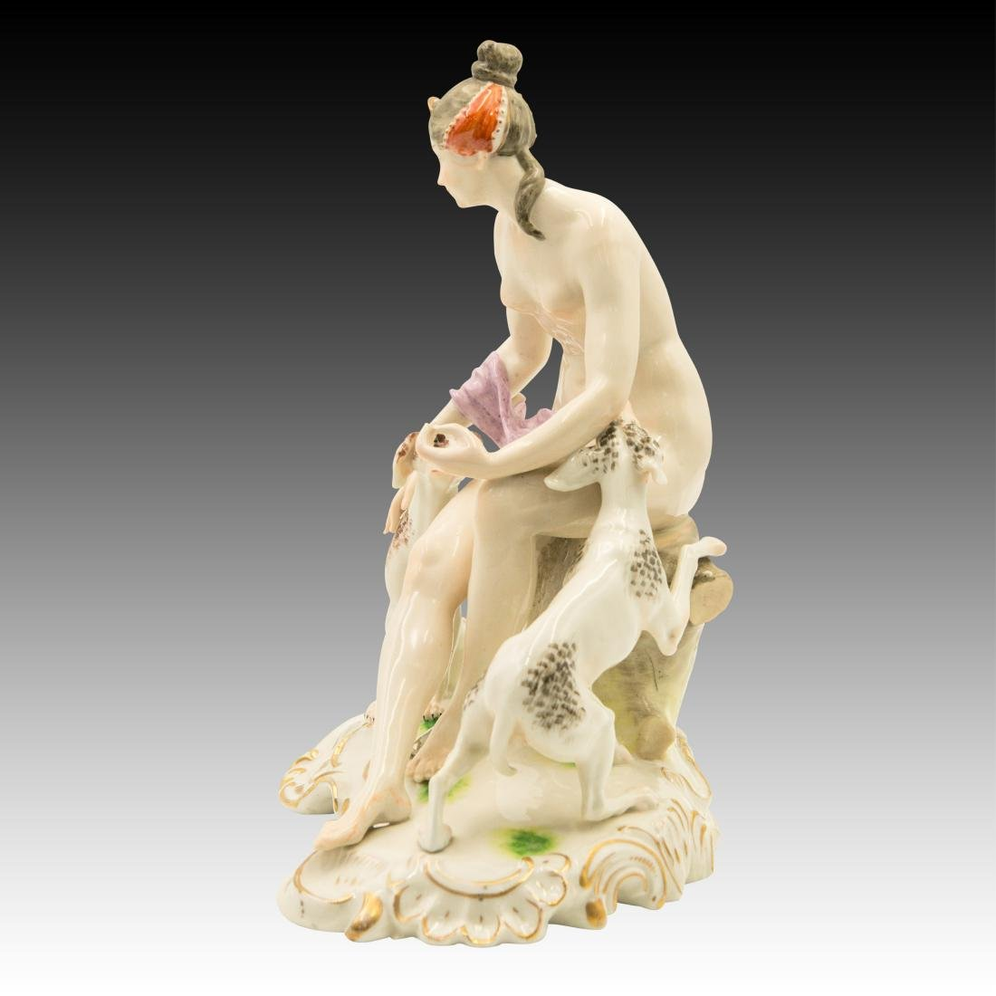 Ceramic Figurine of a Nude Woman and her Dogs - 2