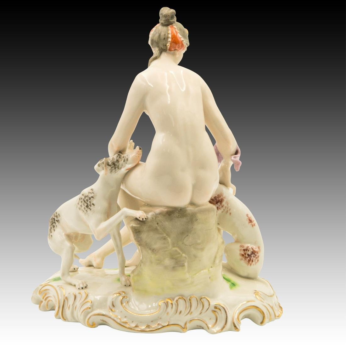 Ceramic Figurine of a Nude Woman and her Dogs - 3