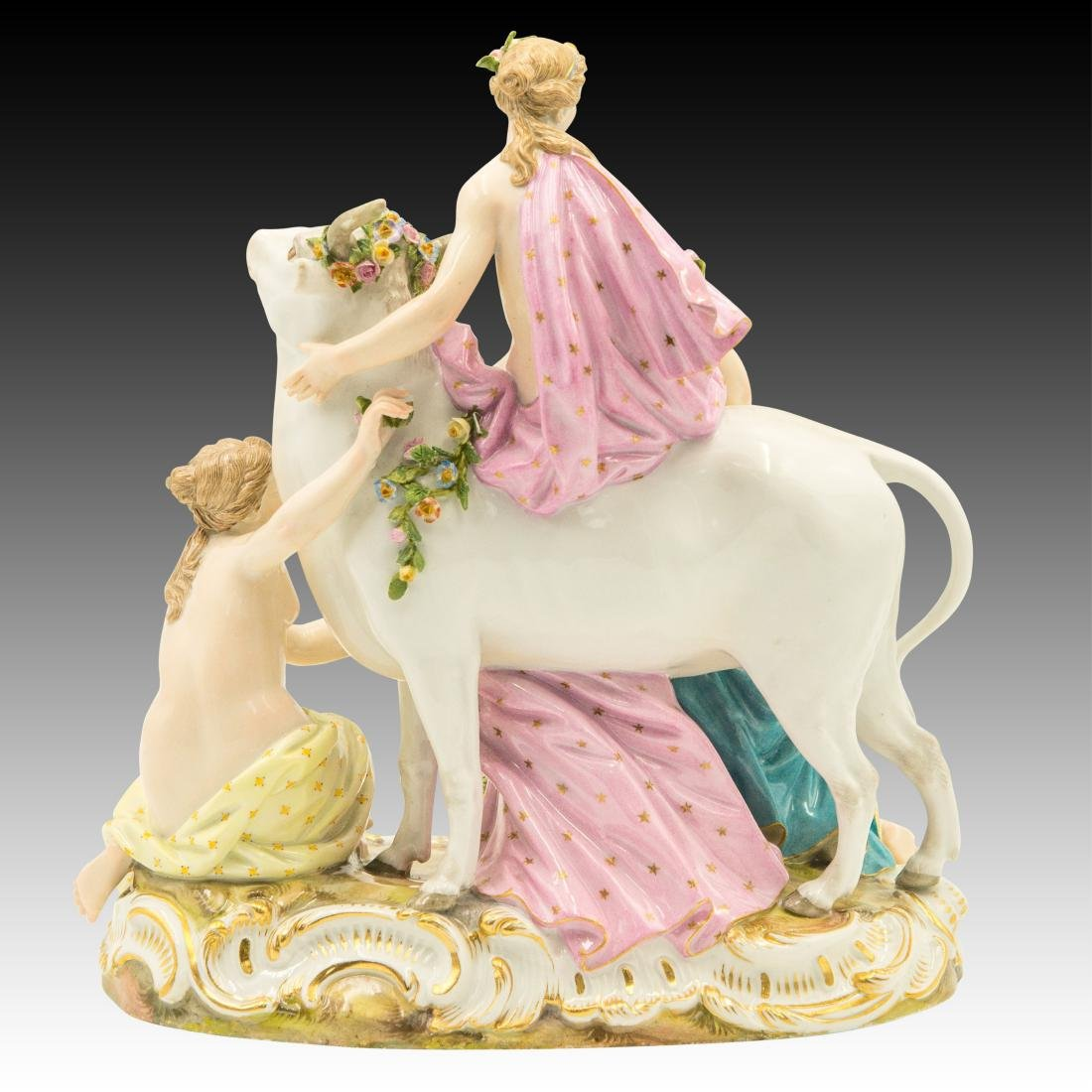 Meissen Female Group with Flowers and Bull # 2697 - 3