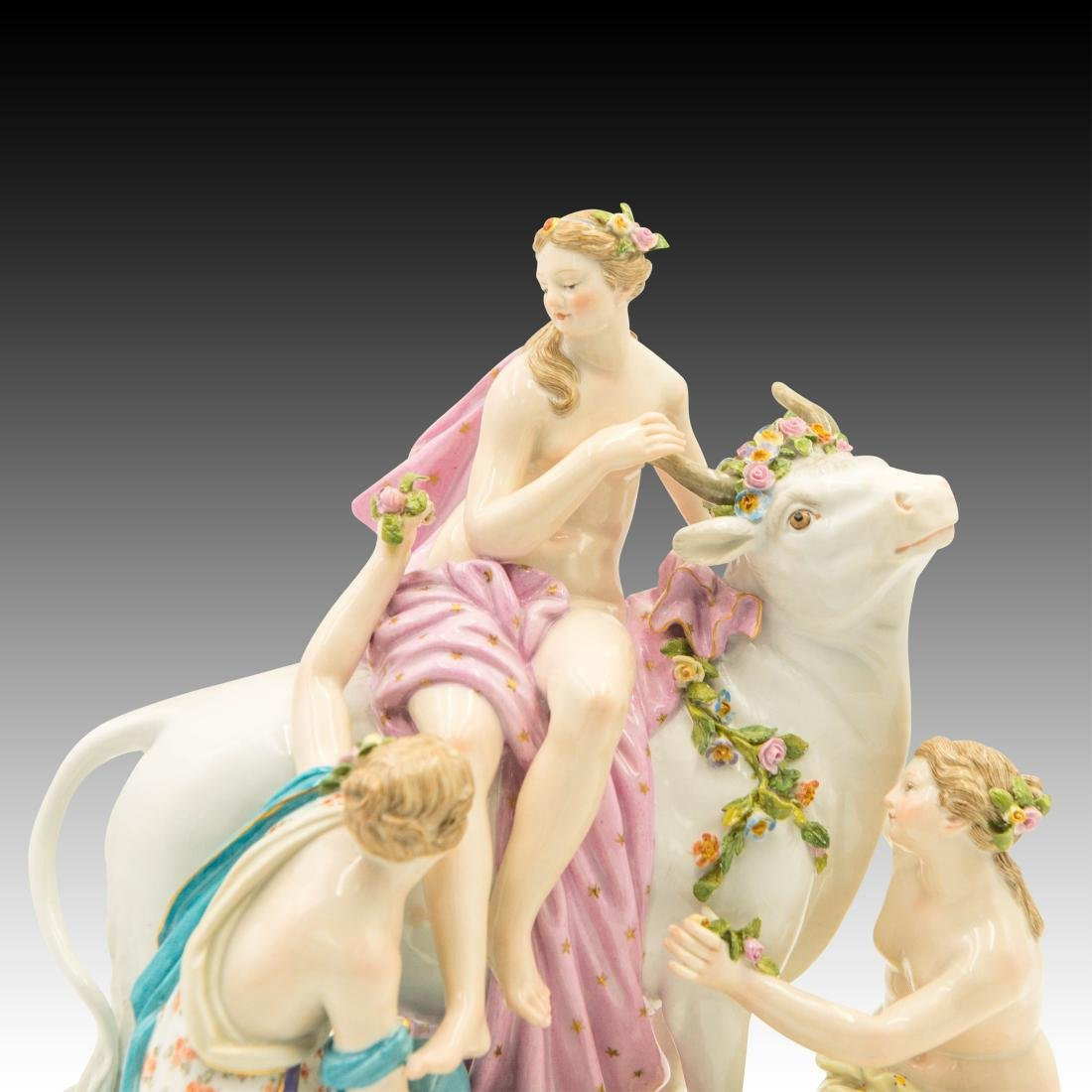 Meissen Female Group with Flowers and Bull # 2697 - 5