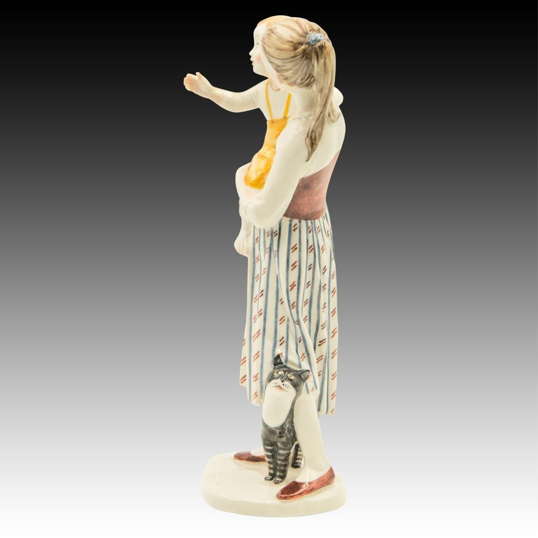 Nymphenburg Mother with Child and Cat Figurine - 2