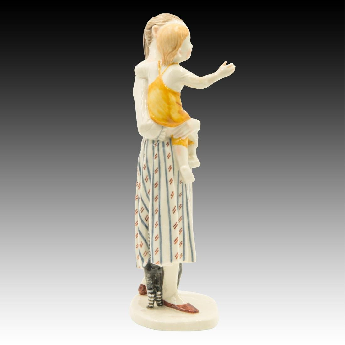 Nymphenburg Mother with Child and Cat Figurine - 4