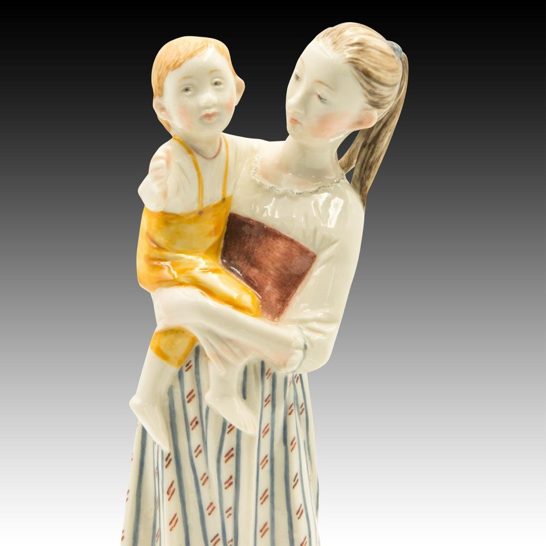 Nymphenburg Mother with Child and Cat Figurine - 5