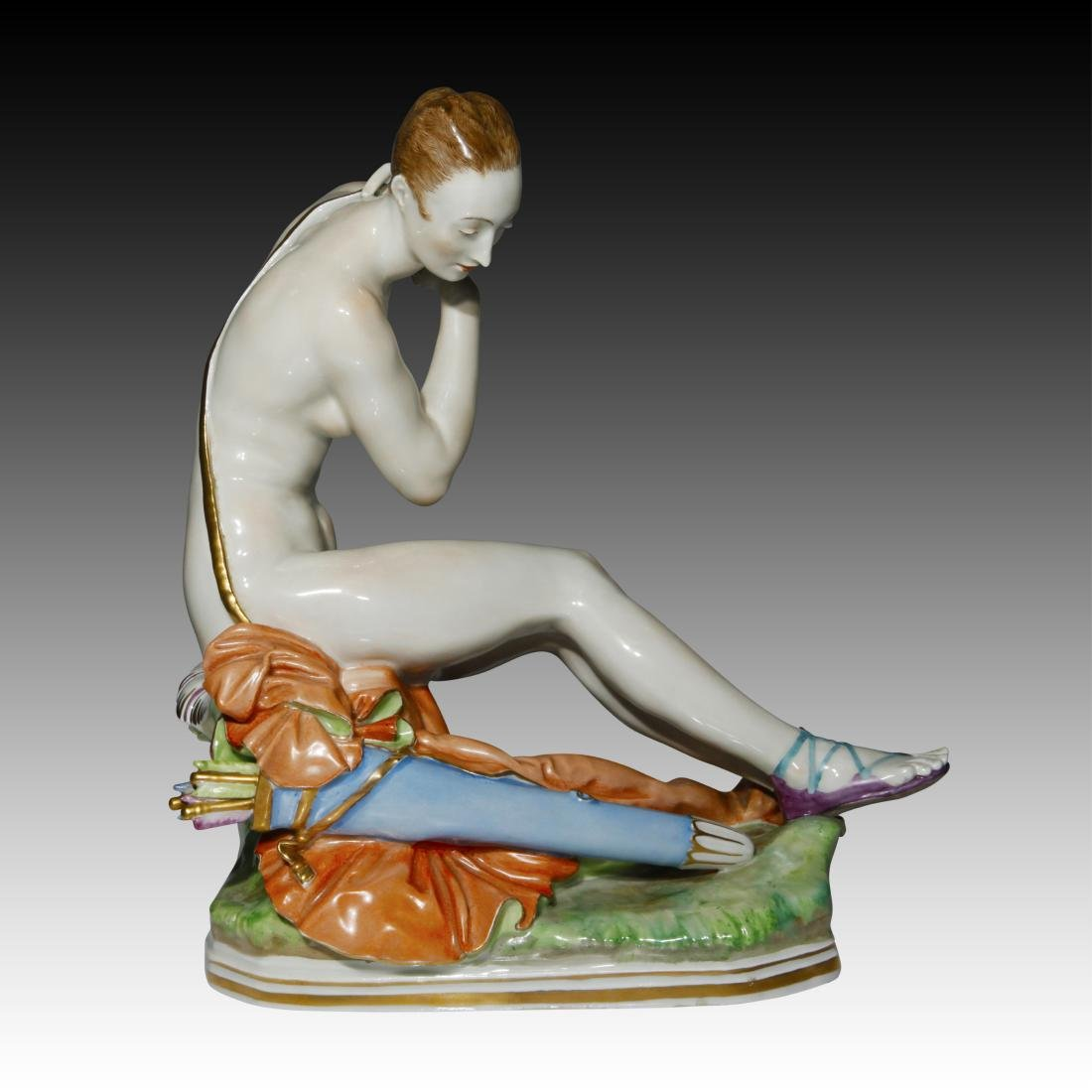Meissen Young Woman seated with Arrows Figurine