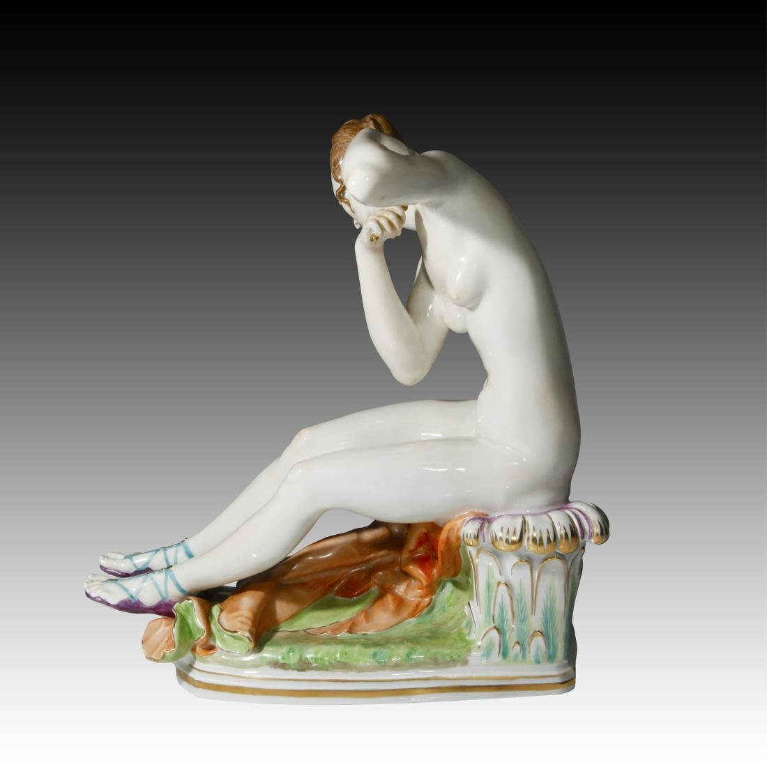 Meissen Young Woman seated with Arrows Figurine - 3