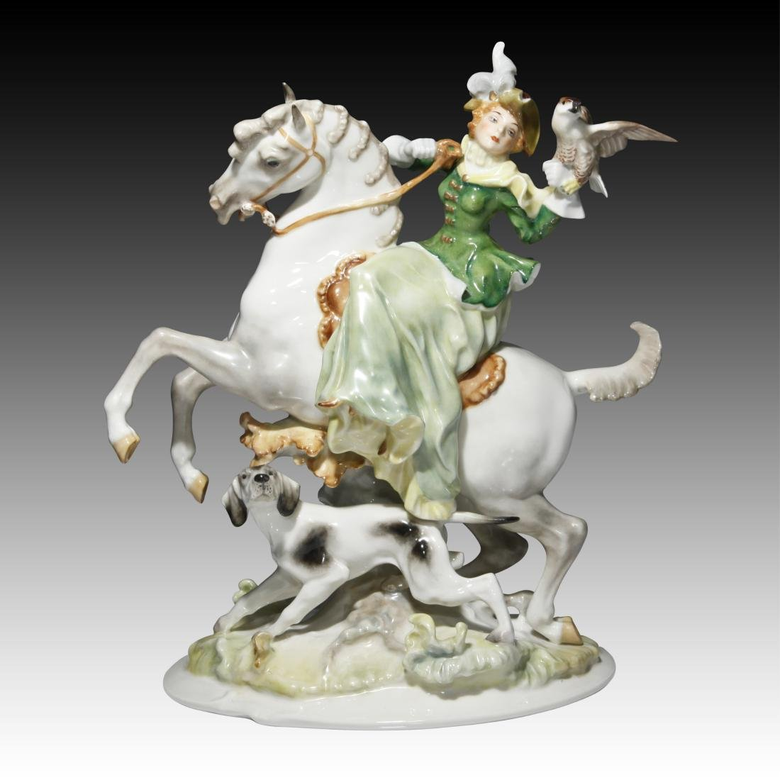 Hutschenreuther Woman on Horseback Figurine