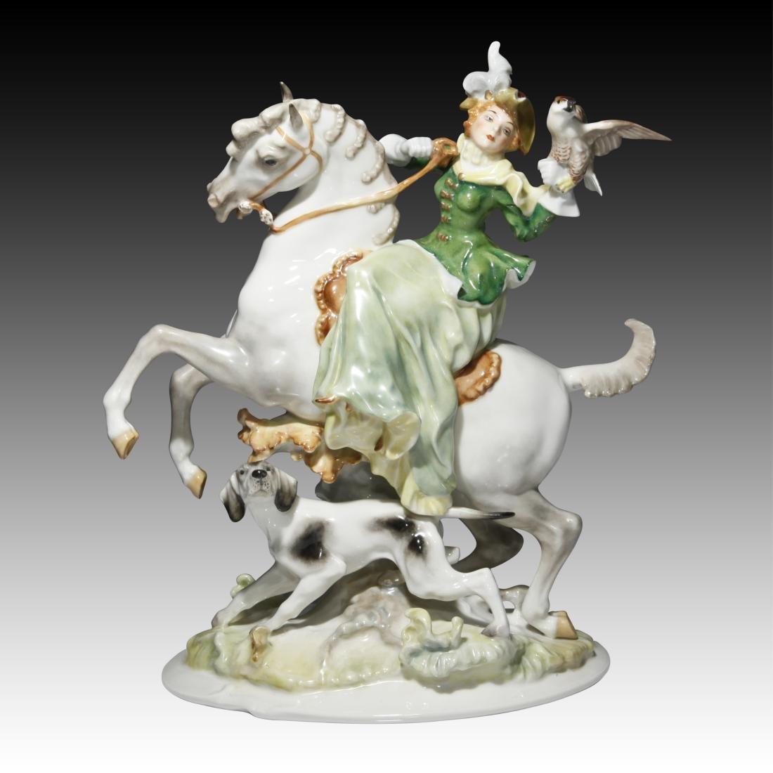 Hutschenreuther Woman on Horseback Figurine