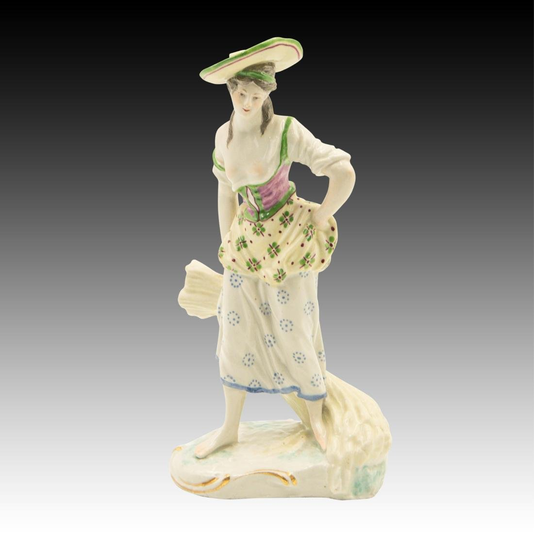 Young Woman Standing with Bundle of Wheat Figurine