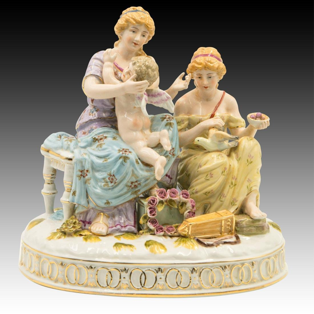 Two Women and a Cherub and Birds Figurine