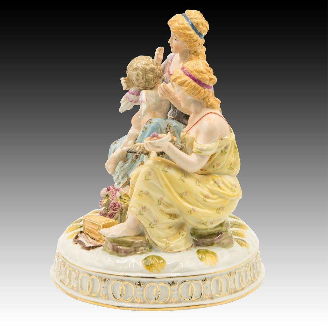 Two Women and a Cherub and Birds Figurine - 2