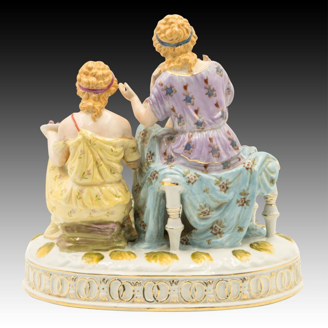 Two Women and a Cherub and Birds Figurine - 3