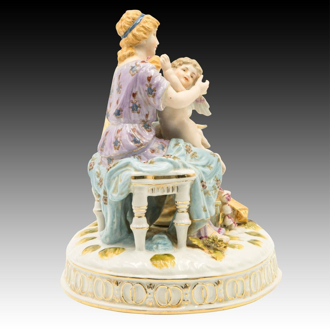 Two Women and a Cherub and Birds Figurine - 4
