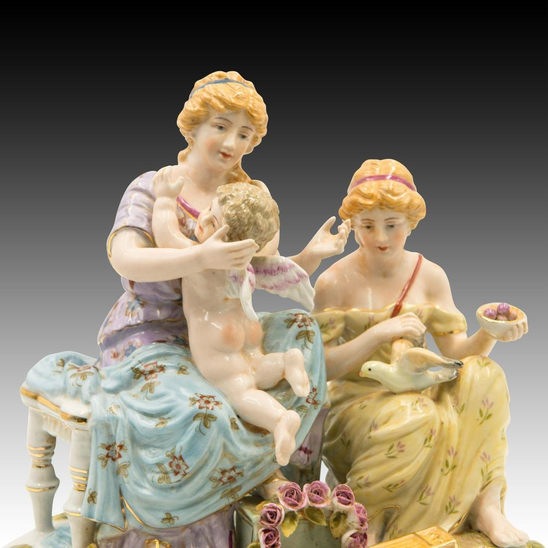 Two Women and a Cherub and Birds Figurine - 5
