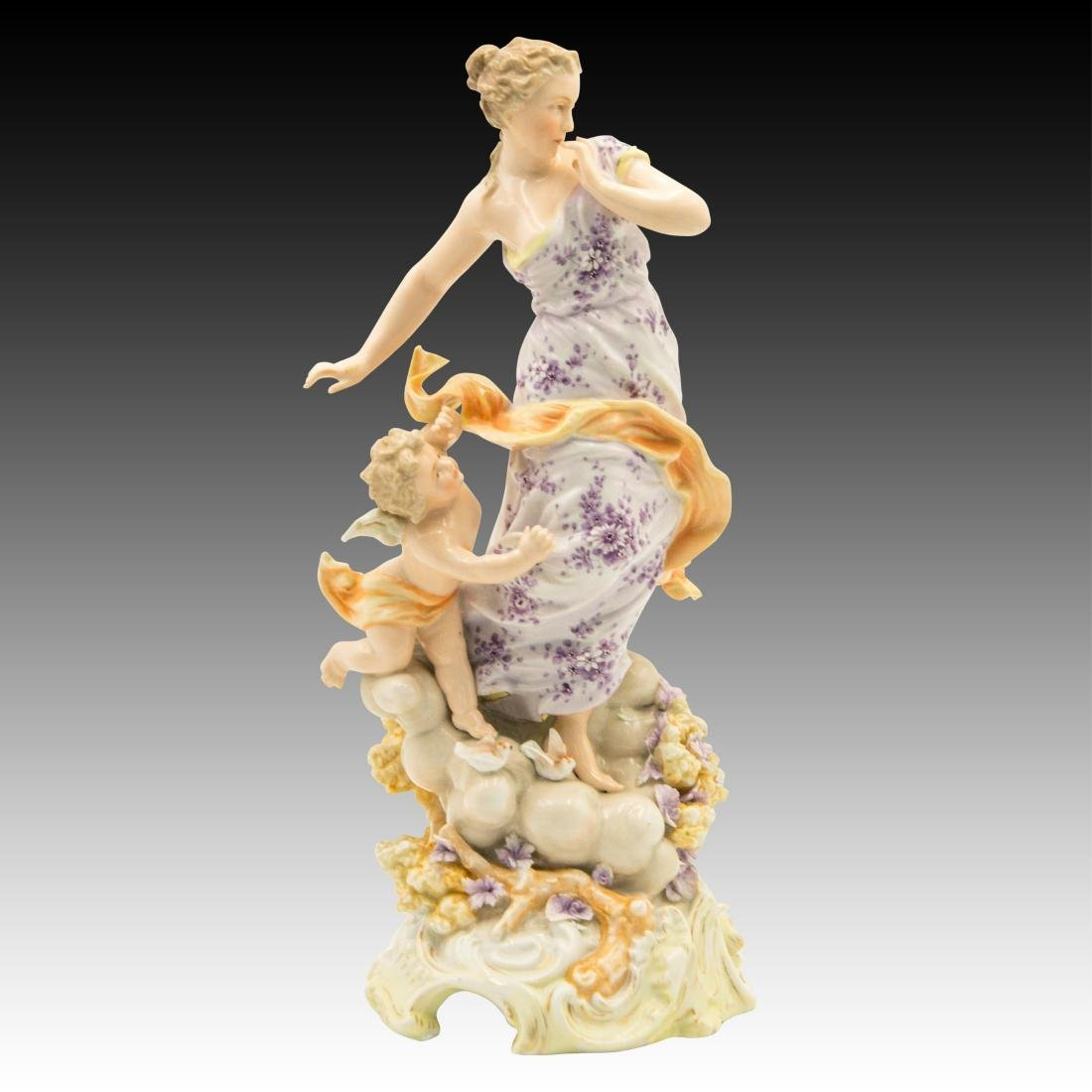 Young Woman on a Cloud with a Cherub Figurine