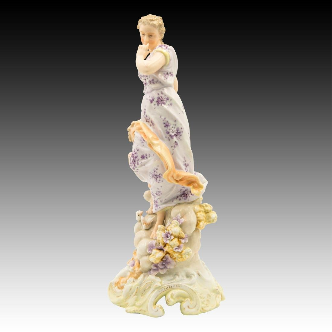 Young Woman on a Cloud with a Cherub Figurine - 2