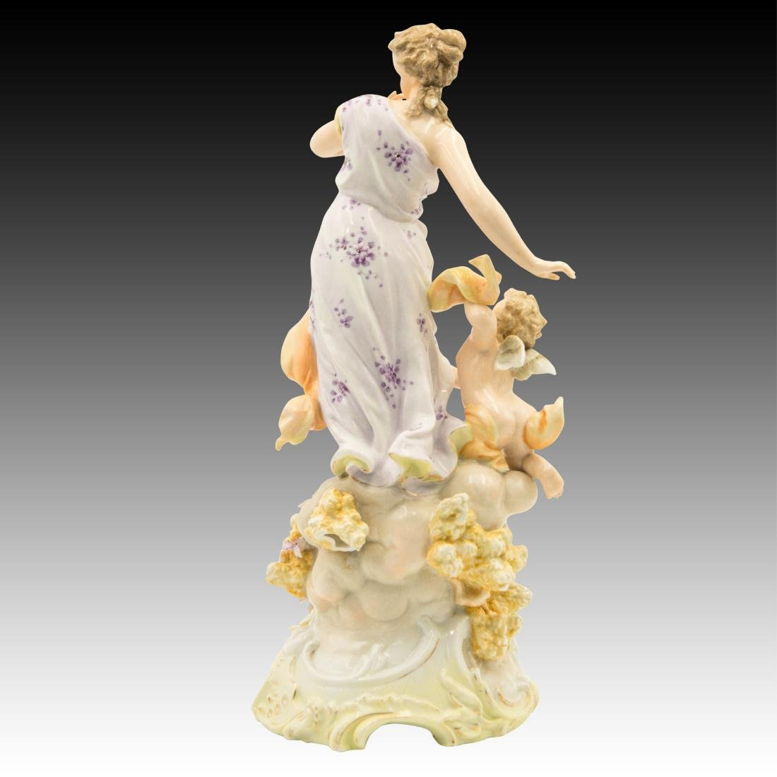 Young Woman on a Cloud with a Cherub Figurine - 3