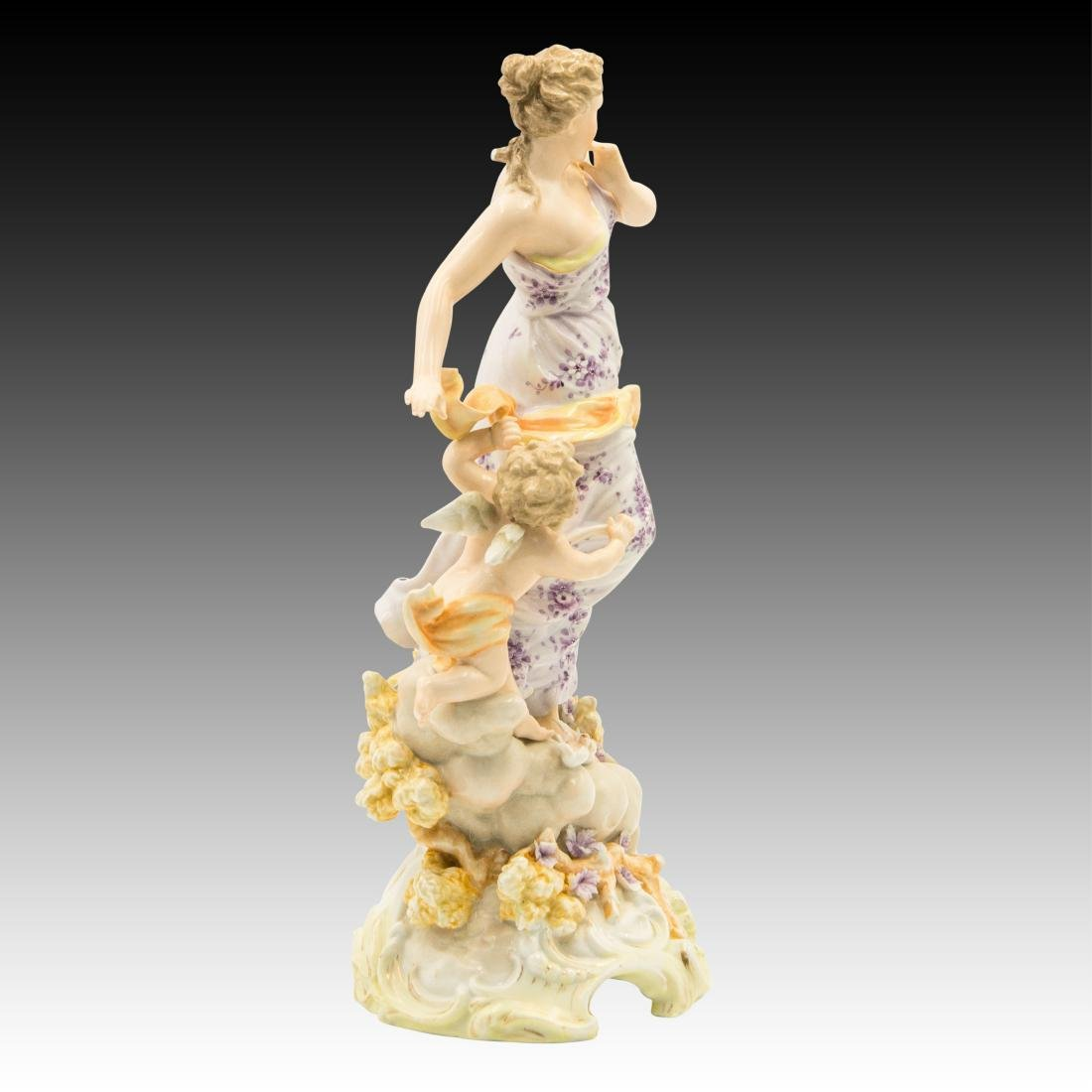 Young Woman on a Cloud with a Cherub Figurine - 4