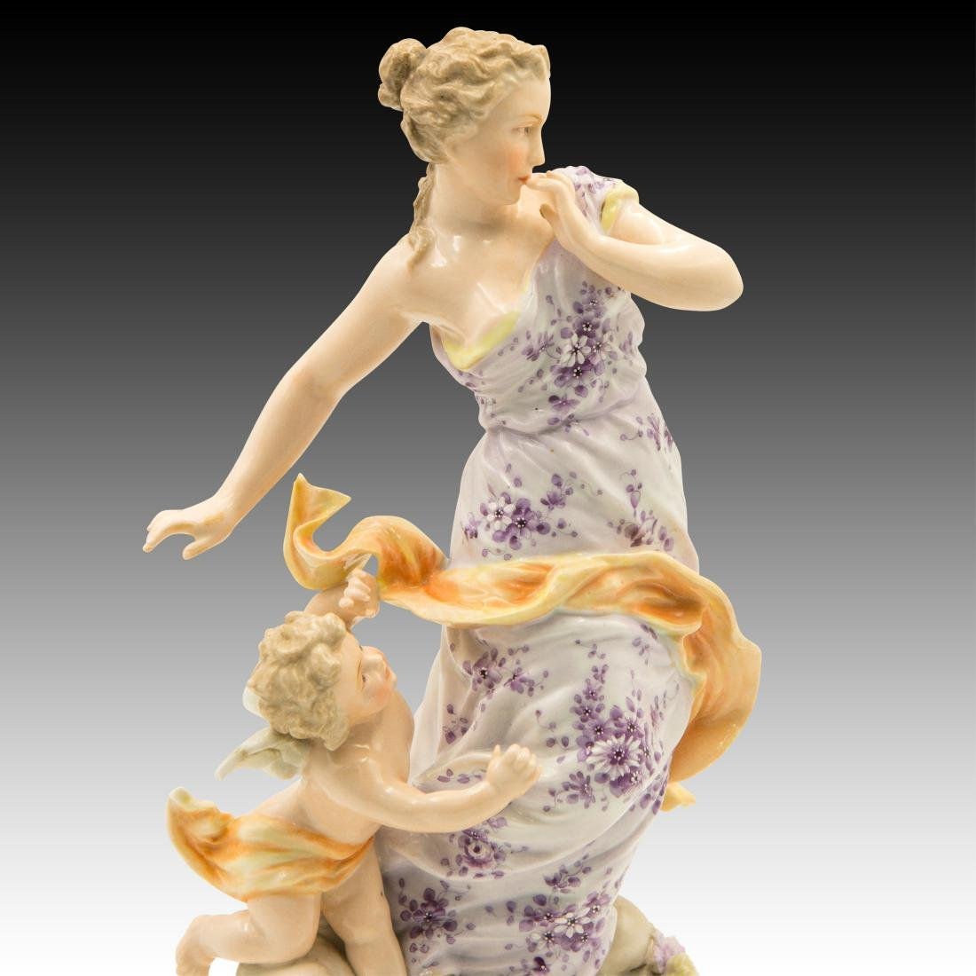 Young Woman on a Cloud with a Cherub Figurine - 5
