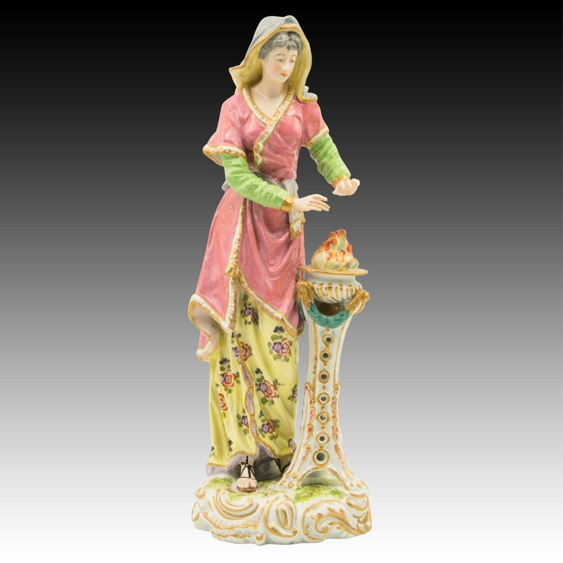 Tall Woman warming her hands by a fire Figurine
