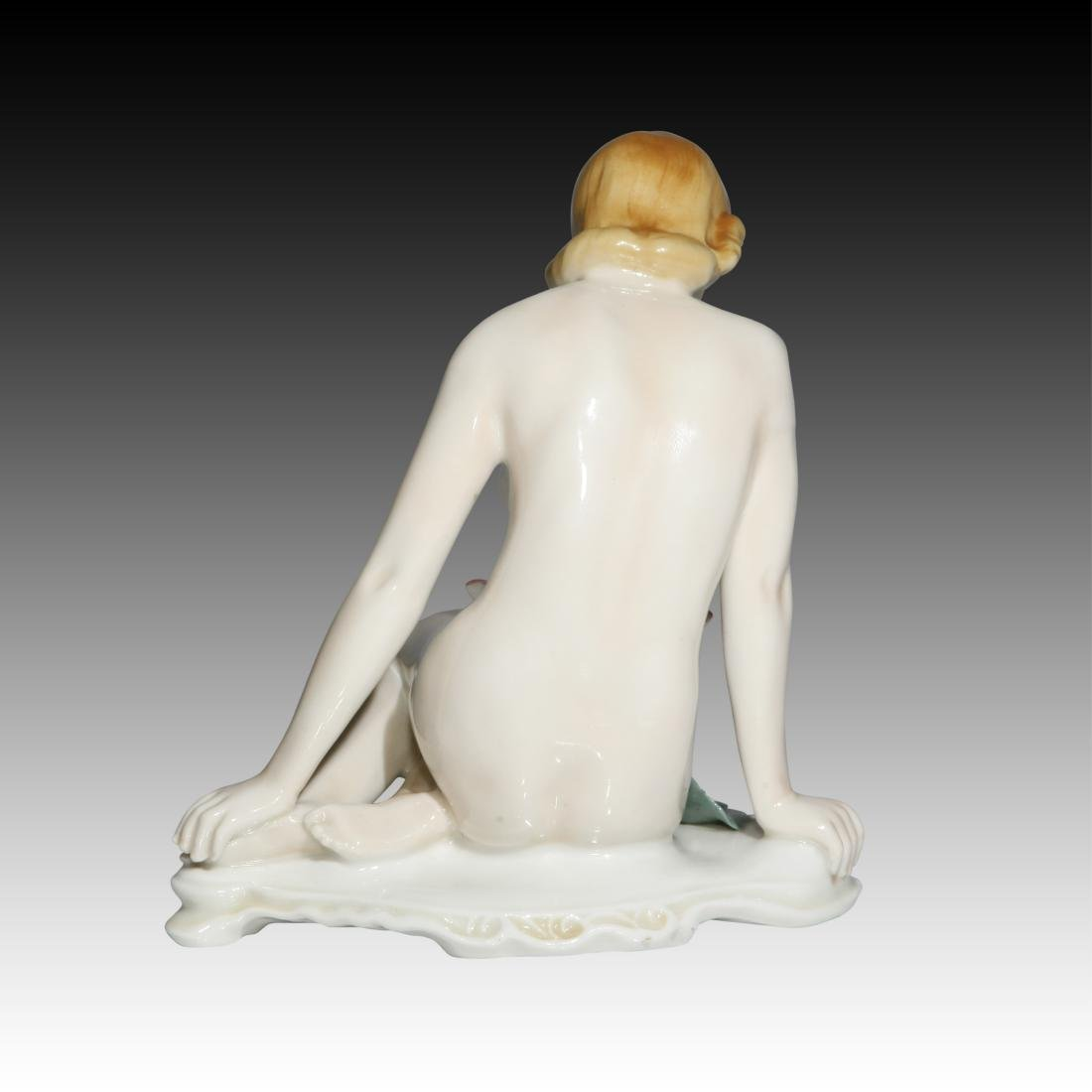 Karl Ens Female Nude with a Lotus Flower Figurine - 2