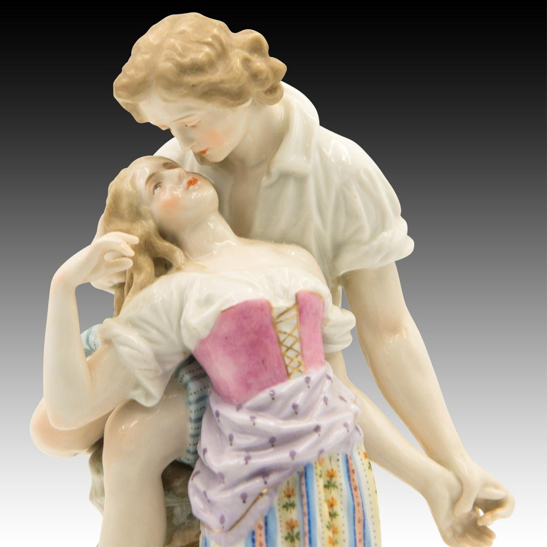 Polychrome Figurine of Young Lovers - 5
