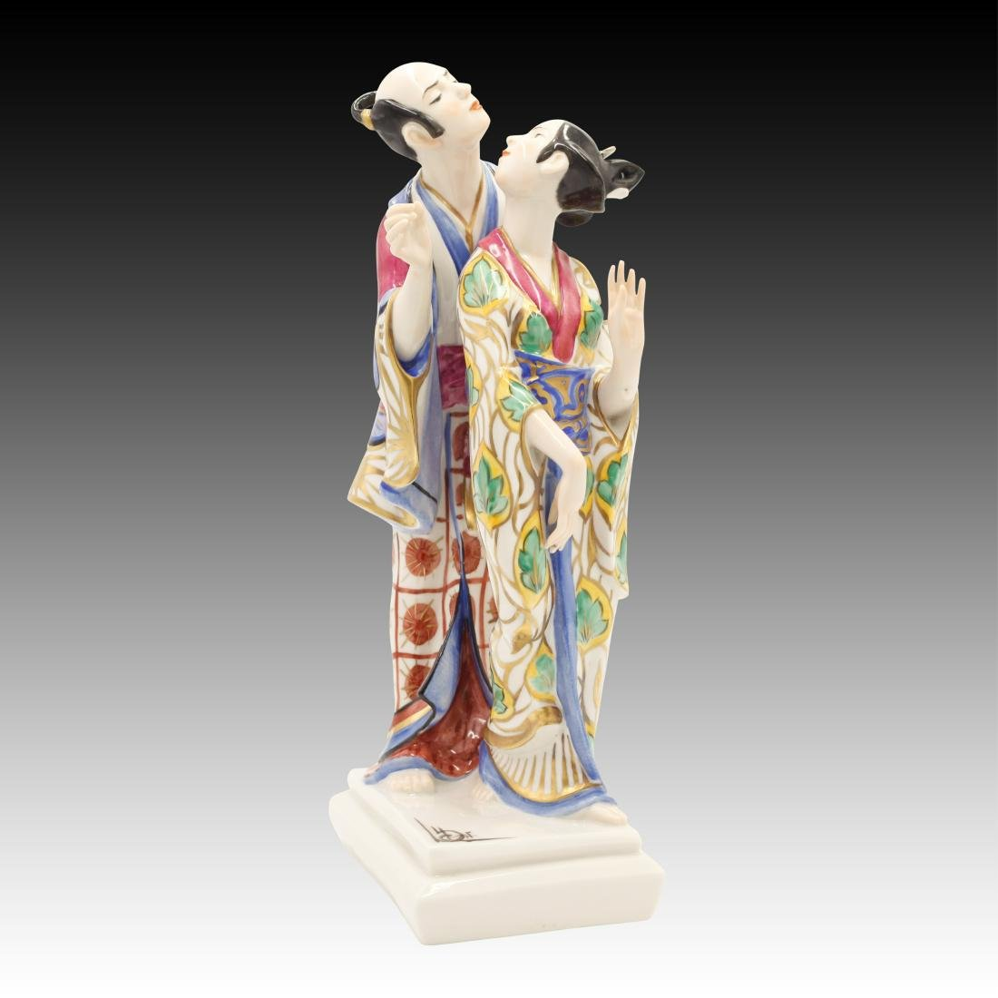 Ceramic Asian Couple in Traditional Dress Figurine
