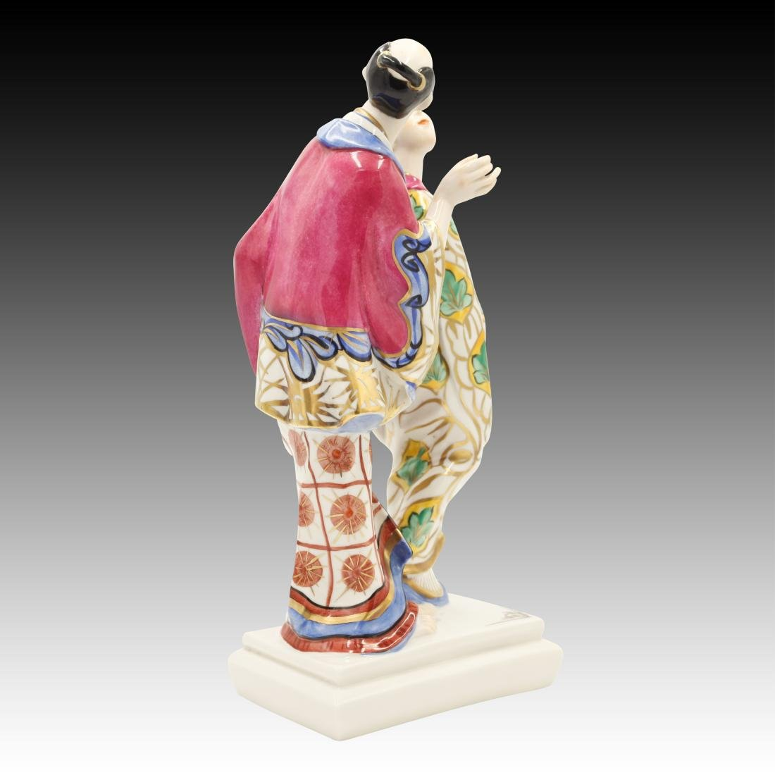 Ceramic Asian Couple in Traditional Dress Figurine - 2