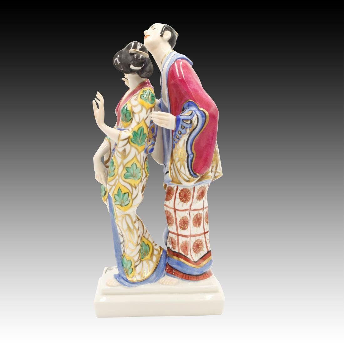 Ceramic Asian Couple in Traditional Dress Figurine - 3