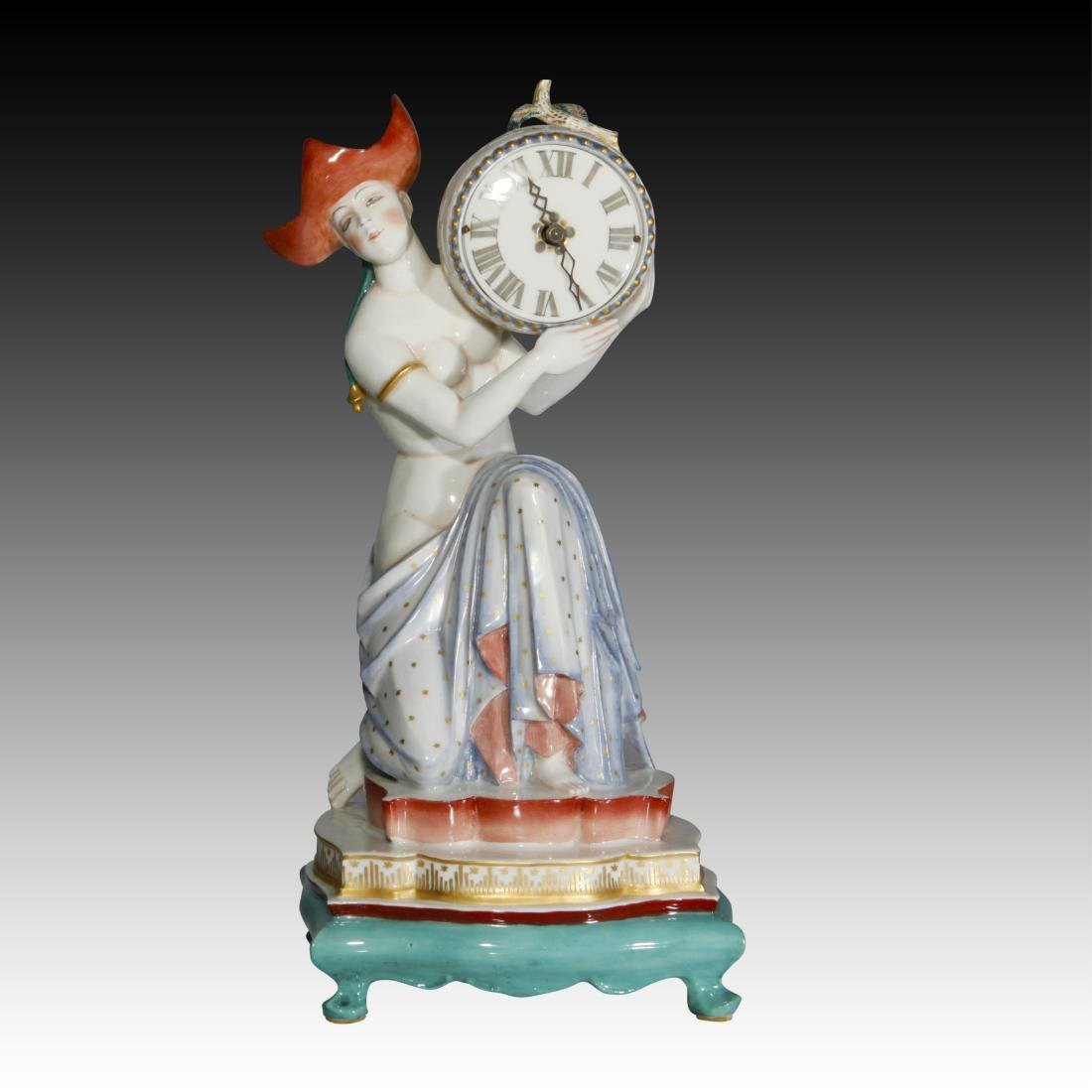 Female Semi-nude Figurine carrying a Clock