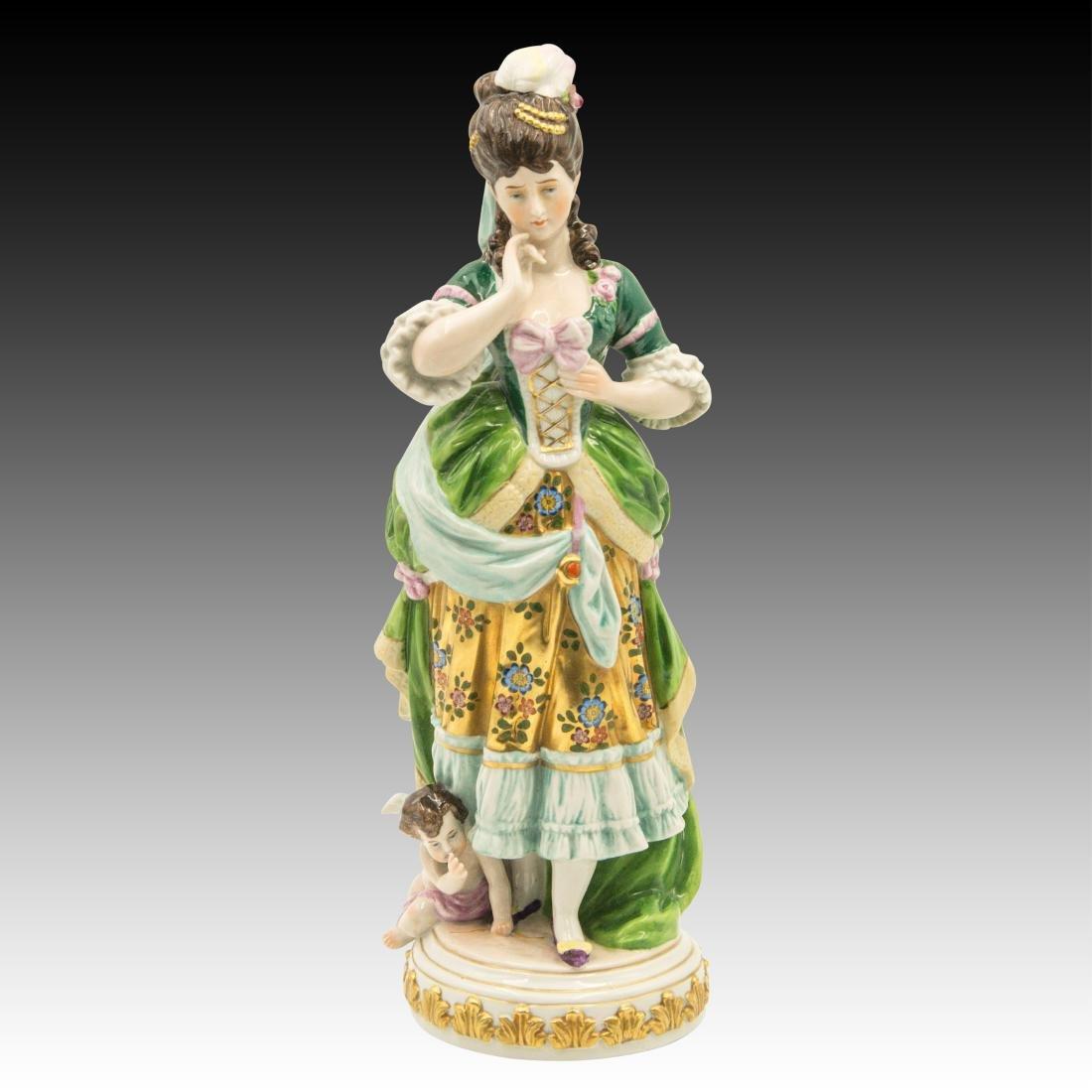 Colorful Kaiser Period Figurine with Cherub