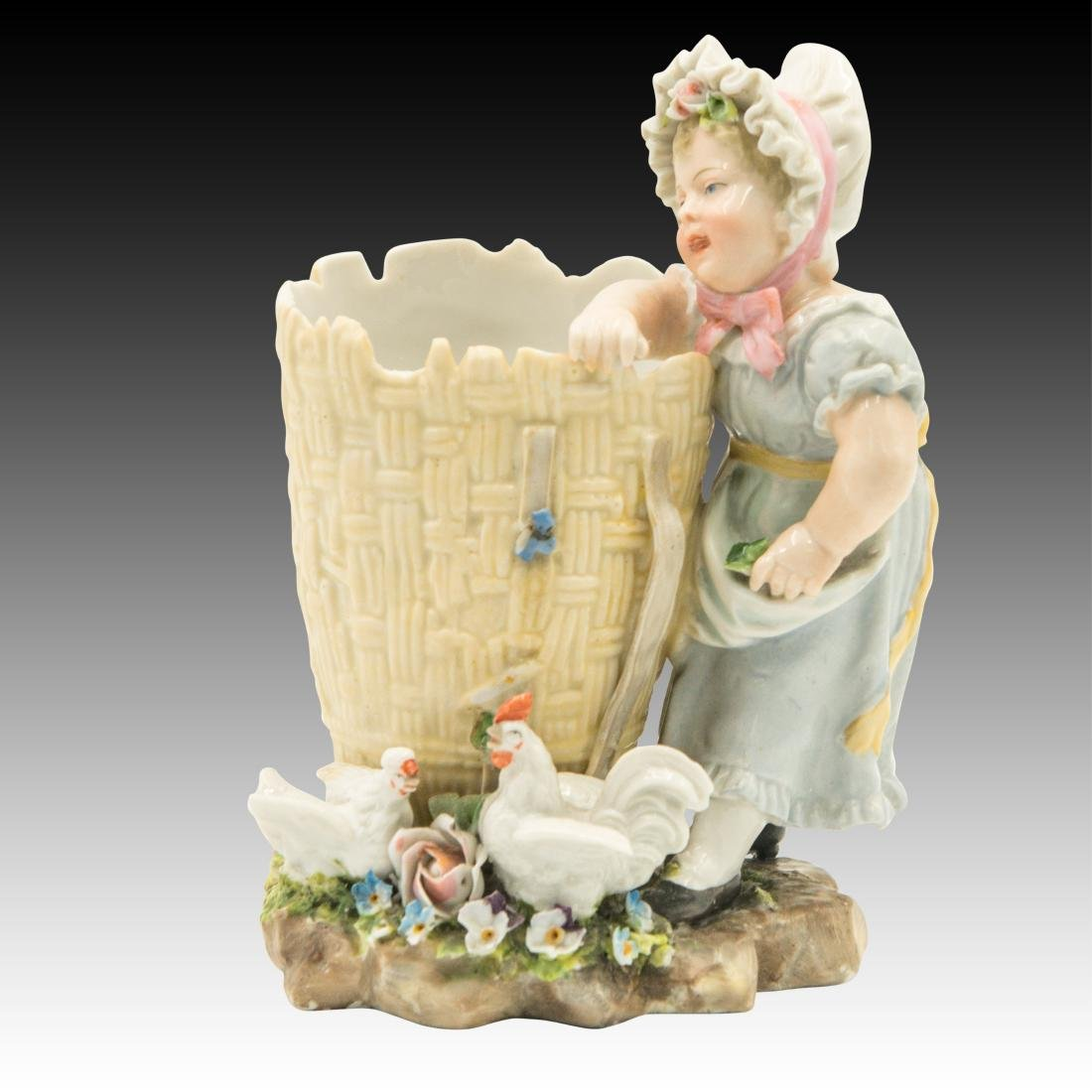 Young Girl Leaning on a Basket Figurine