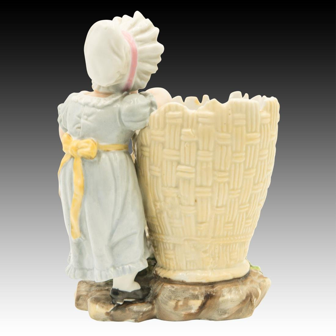 Young Girl Leaning on a Basket Figurine - 3