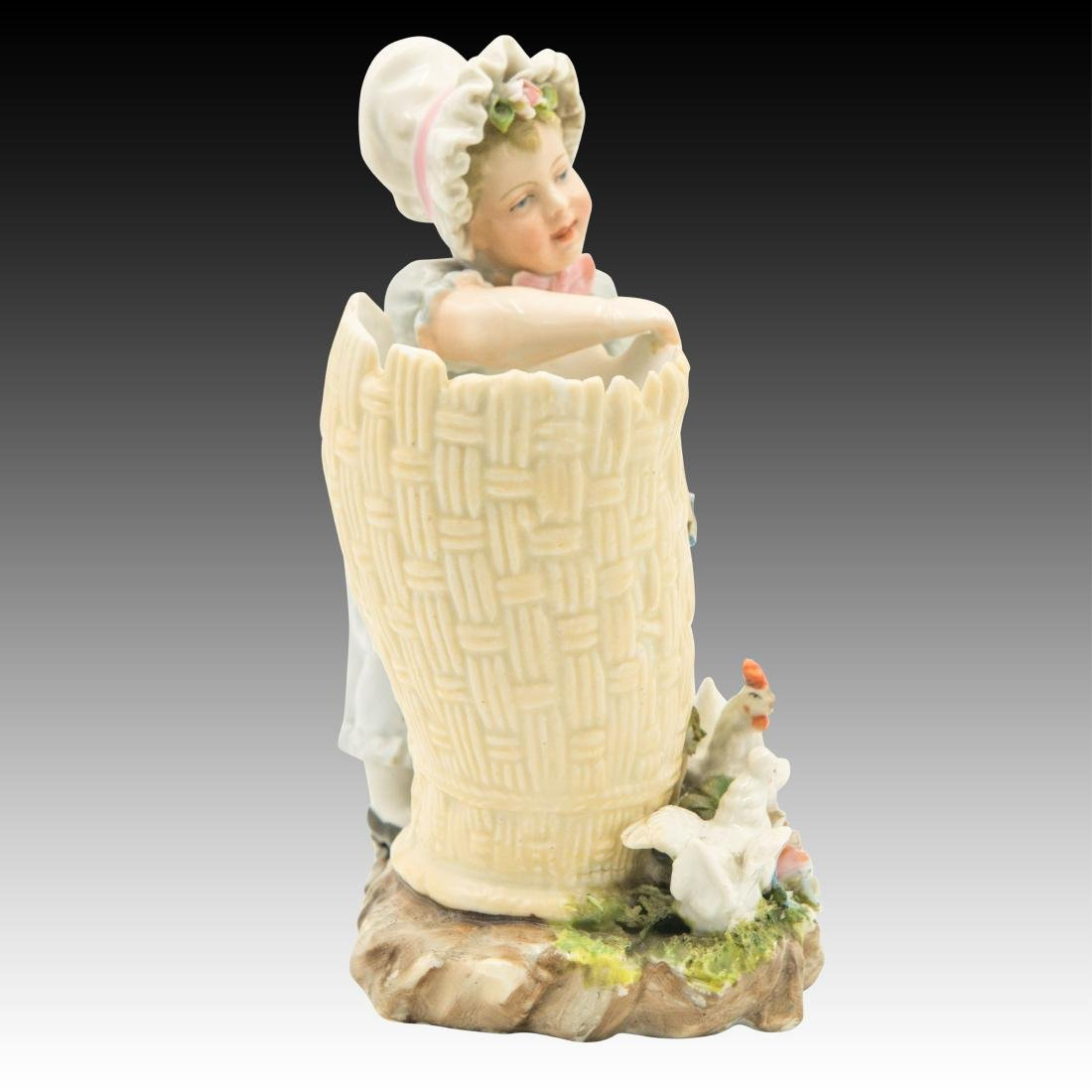 Young Girl Leaning on a Basket Figurine - 4
