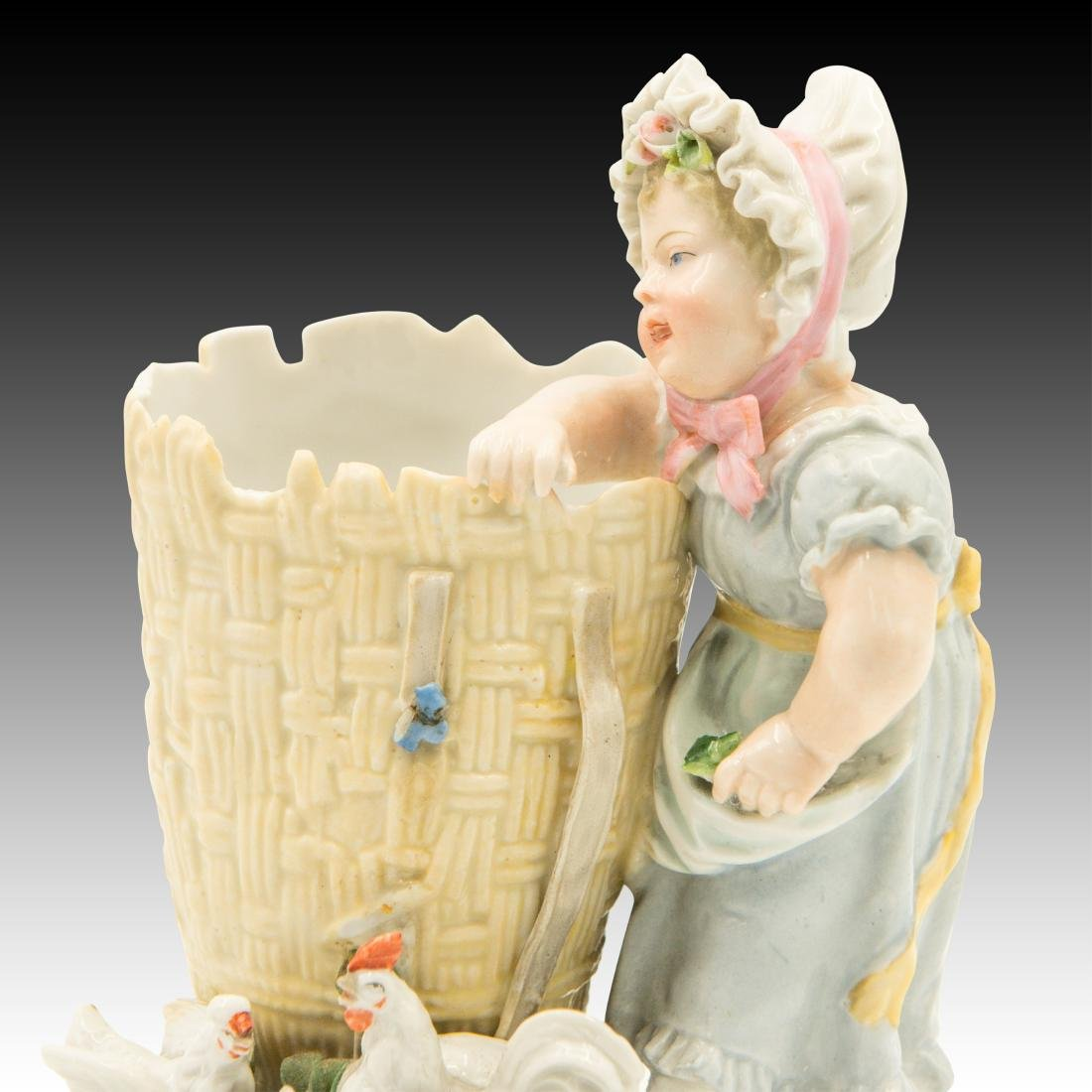 Young Girl Leaning on a Basket Figurine - 5