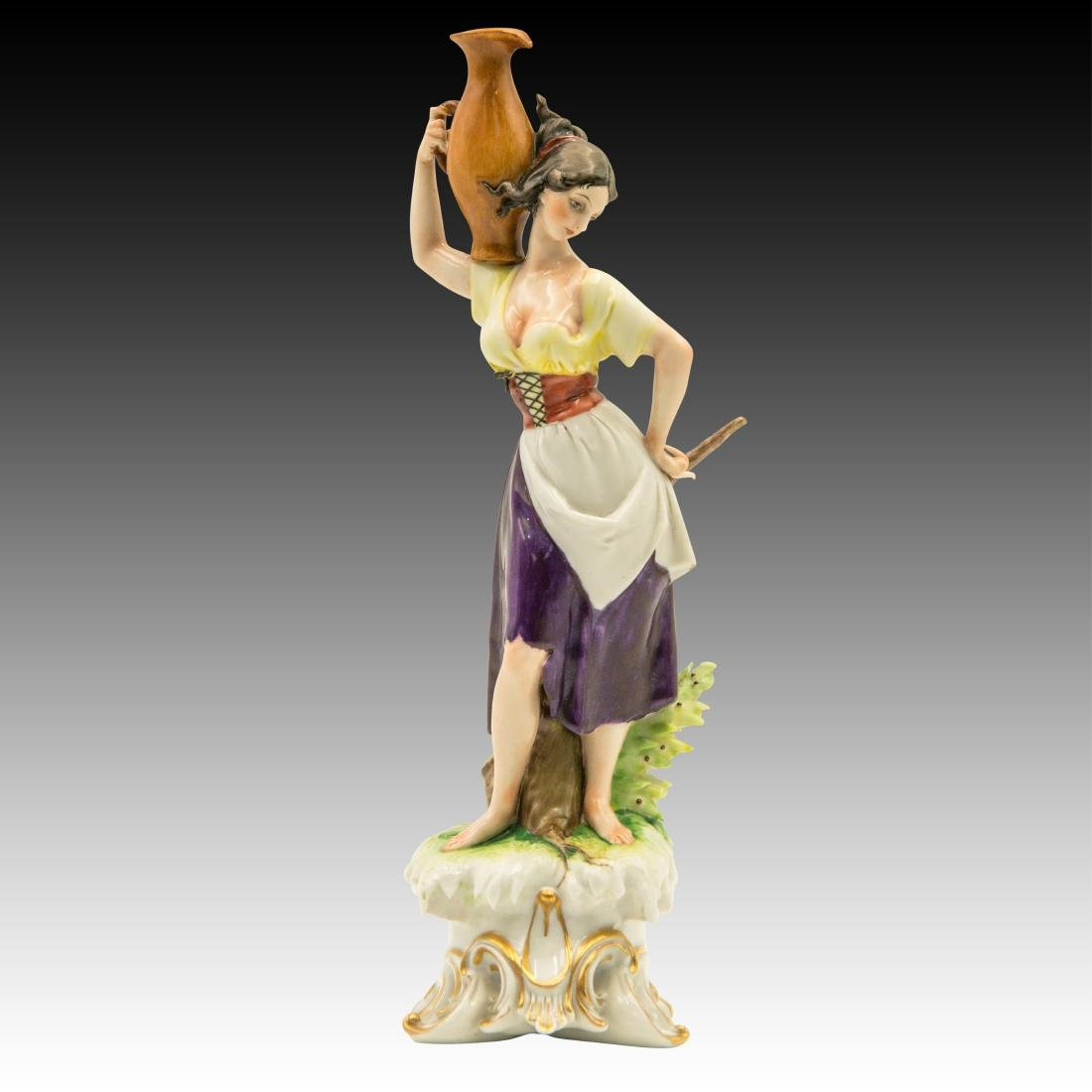 Young Peasant Woman Carrying a Water Jug Figurine