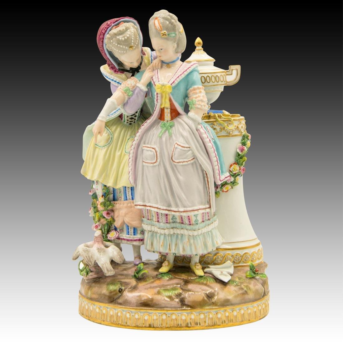 Meissen Figurine with 2 Women with Birds and Urn
