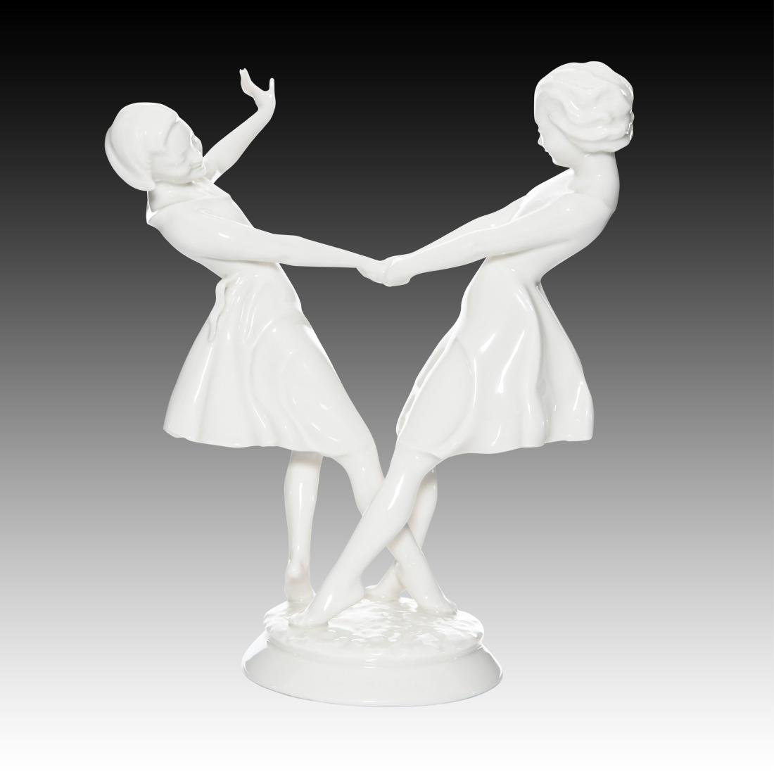 Hutschenreuther Two Young Girls Dancing Figurine - 2