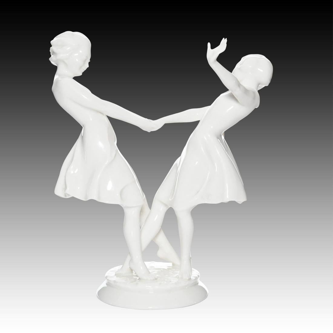 Hutschenreuther Two Young Girls Dancing Figurine - 3