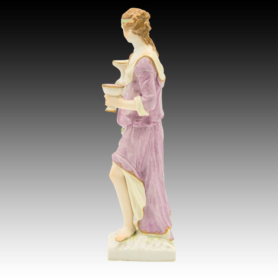 Semi Nude Woman with Wine Pitcher Figurine - 4