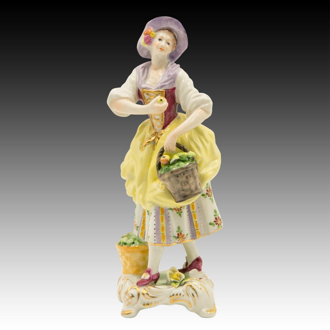 Young Girl Selling Apples Figurine