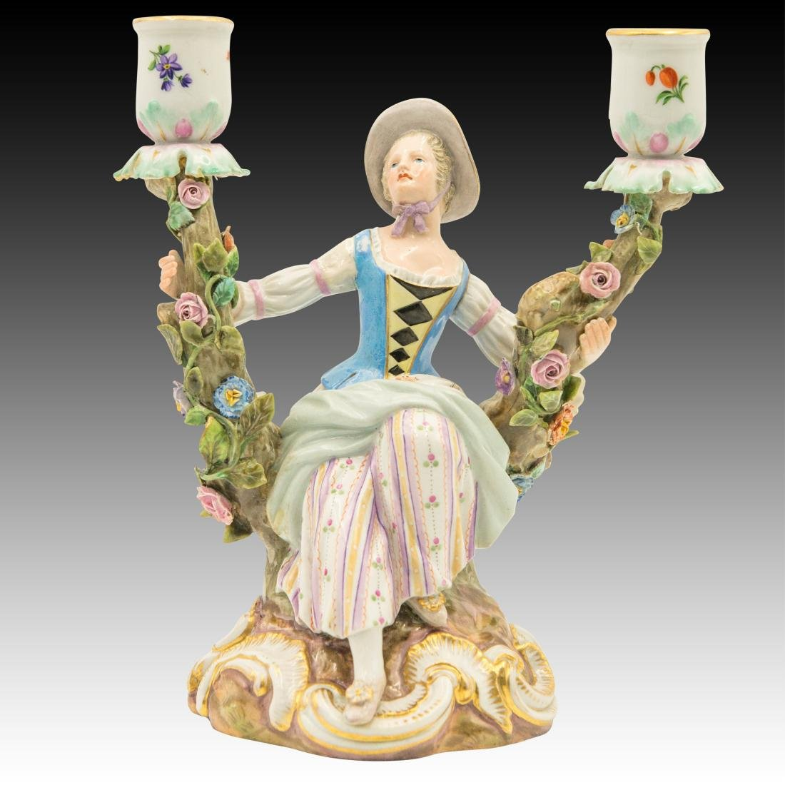 Meissen Young Woman Double Candle Holder
