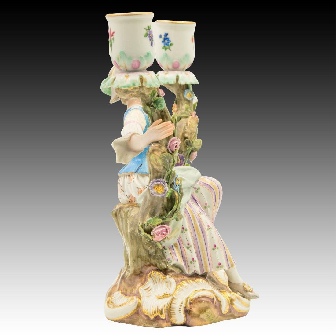 Meissen Young Woman Double Candle Holder - 2