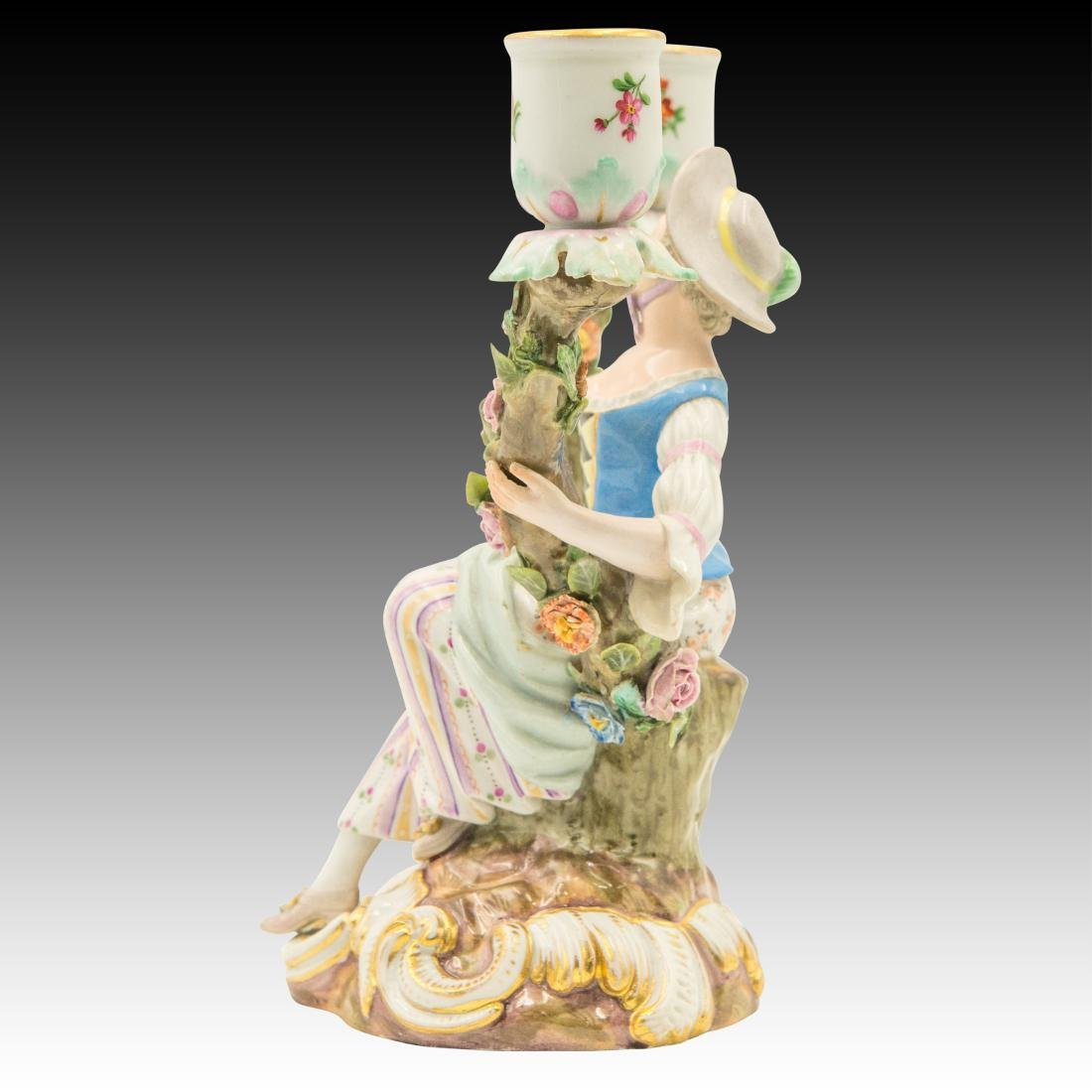 Meissen Young Woman Double Candle Holder - 4