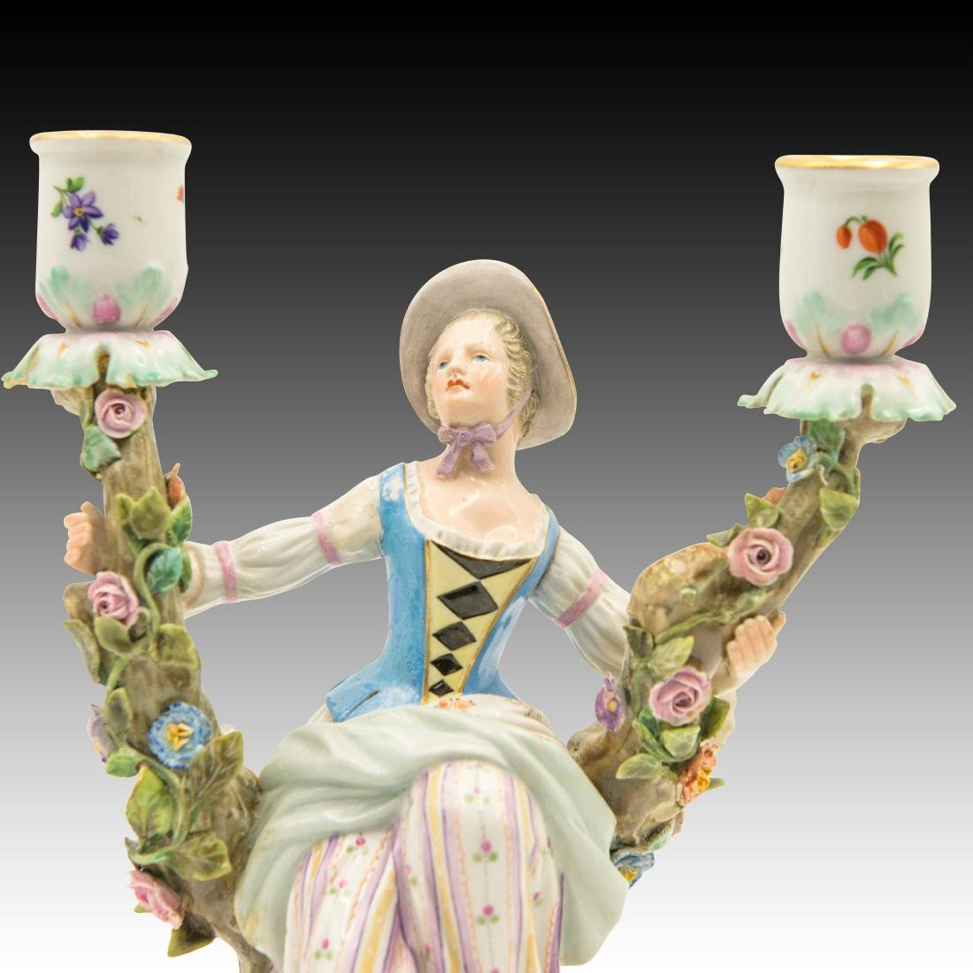 Meissen Young Woman Double Candle Holder - 5