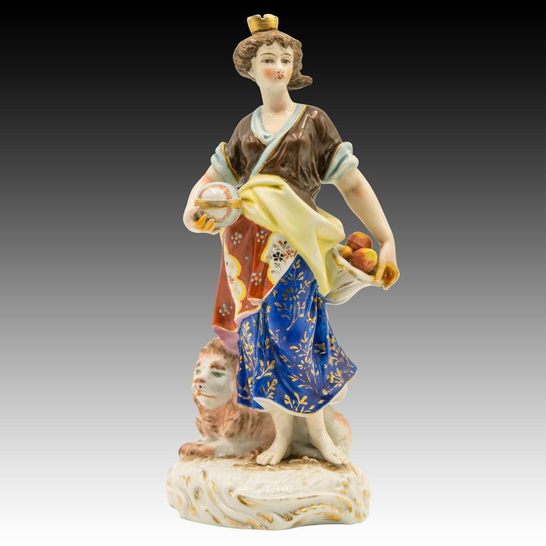 Young Woman Apple Basket and Lion Cub Figurine