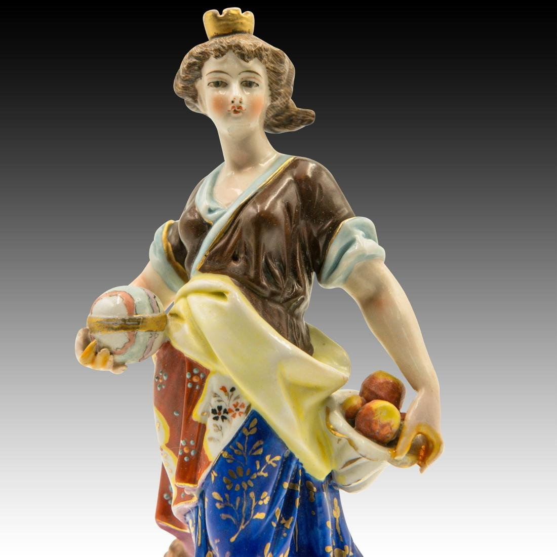 Young Woman Apple Basket and Lion Cub Figurine - 5